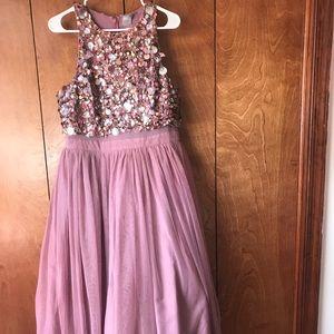 [ Asos ] Embellished Mesh Crop Top Midi Dress